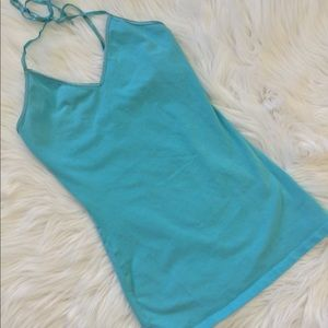 Express Turquoise Halter Cami Shimmer Accented